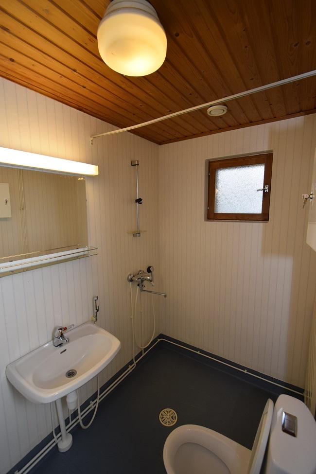 Kiinteistön vessa, jossa on puuseinät ja musta lattia